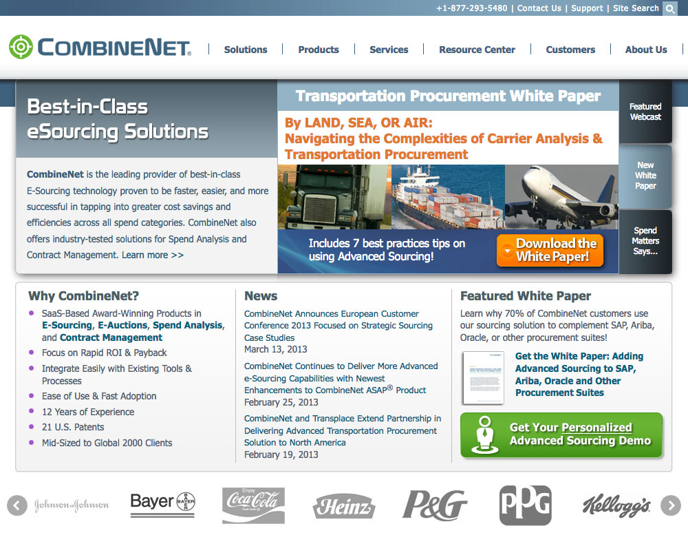 CombineNet Inc. Website
